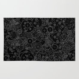 Clockwork B&W inverted / Cogs and clockwork parts lineart pattern Rug