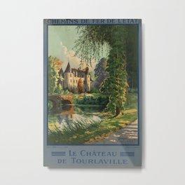 Chateau de Tourlaville Vintage Travel Poster Metal Print