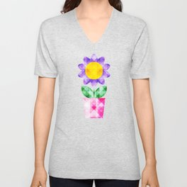 Colorful Faceted Potted Flowers Unisex V-Neck