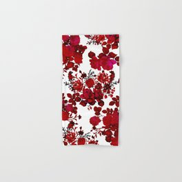 Botanical romantic red black elegant roses floral Hand & Bath Towel