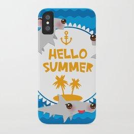 Hello Summer. Kawaii hammerhead shark iPhone Case