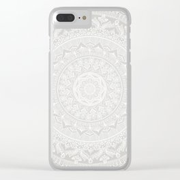 Mandala Soft Gray Clear iPhone Case