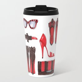 Fashion accessories, shoes, bag, glasses, lipstick. Travel Mug