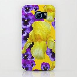 GOLDEN YELLOW IRIS PURPLE PANSY GARDEN iPhone Case