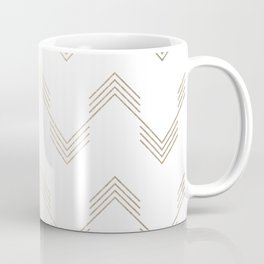 Simply Deconstructed Chevron White Gold Sands on White Coffee Mug