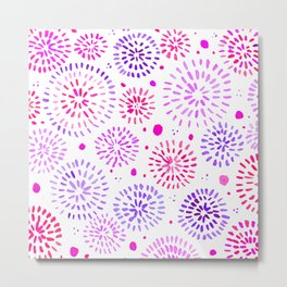 Abstract watercolor sparkles – ultraviolet and pink Metal Print