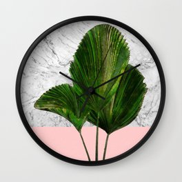 Palm Plant on Marble and Pastel Wall Wall Clock