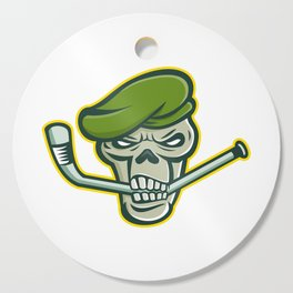 Green Beret Skull Ice Hockey Mascot Cutting Board