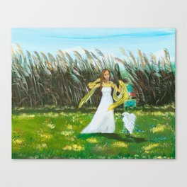 Beautiful Girl with Egret Canvas Print