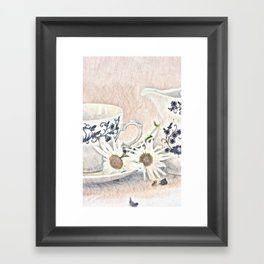 Cup and milk jug with flowers Framed Art Print