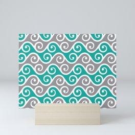 Aqua and Grey Wavy Ripple Pattern Pantone 2021 Color Of The Year Ultimate Gray  Mini Art Print