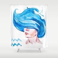 aquarius Shower Curtains featuring Aquarius by Aloke Design