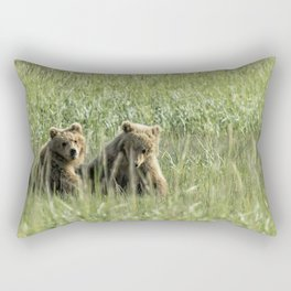 Brown Bear Cubs - Before Play Rectangular Pillow