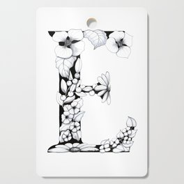 Floral Pen and Ink Letter E Cutting Board