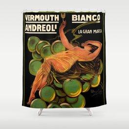 Vintage White Wine Ad Italian Vermouth Shower Curtain