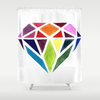 diamond Shower Curtains featuring Diamond by Bridget Davidson