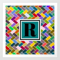 monogram Art Prints featuring R Monogram by mailboxdisco