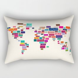 All We Need Is Love World Map Art Rectangular Pillow