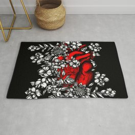Floral heart Rug