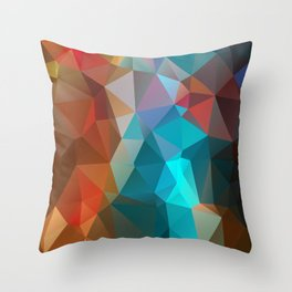 Abstract bright background of triangles polygon print illustration Throw Pillow