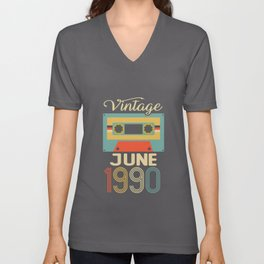 Vintage June 1990 30th Birthday 30 Year Gift Unisex V-Neck