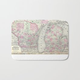 Michigan and Wisconsin map print from 1863 Bath Mat