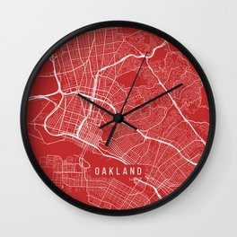 Oakland Map, USA - Red Wall Clock