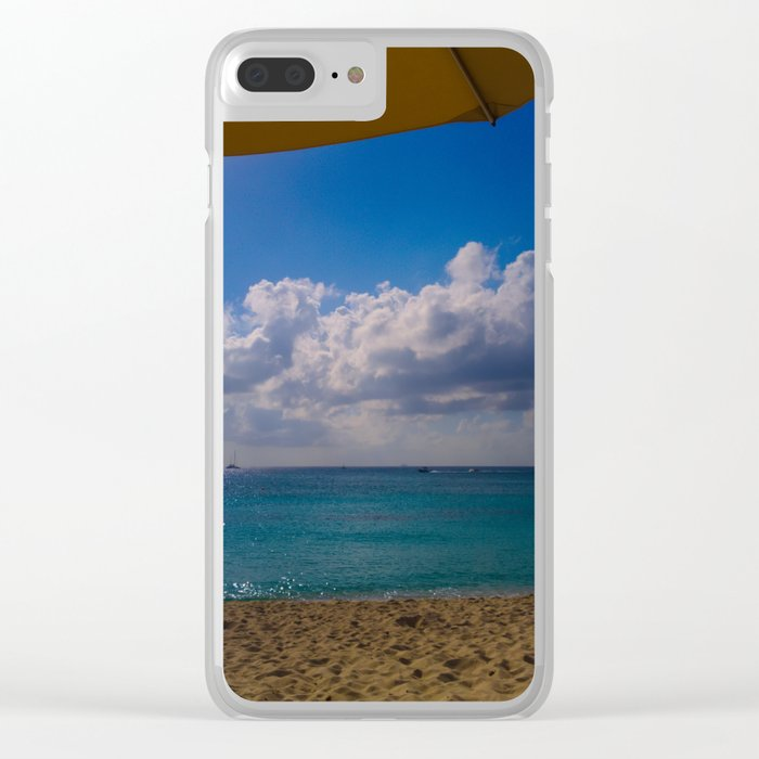 Seaside Under Umbrellas Clear iPhone Case