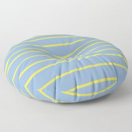 Yellow and Pastel Blue Minimal Stripe Pattern 2021 Color Of The Year Illuminating & Placid Blue Floor Pillow