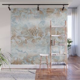 Watercolour in Blue Gold Wall Mural