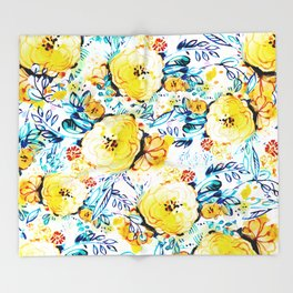 Yellow painted flowers Throw Blanket