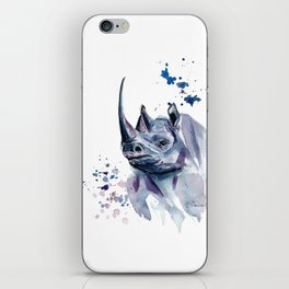 Purple (black) Rhino Watercolor Painting iPhone Skin