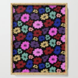 Bright, funky modern floral on black Serving Tray