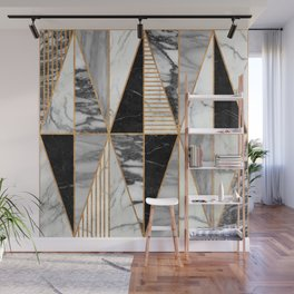Marble Triangles - Black and White Wall Mural