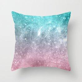 Sea pink viridian green ombre abstract galaxy Throw Pillow