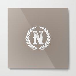 Beige Monogram: Letter N Metal Print