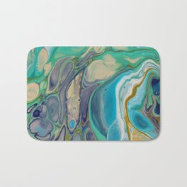 Fluid Abstract - Blue and Purple Bath Mat