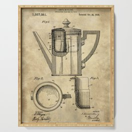 Coffee Pot Blueprint Serving Tray