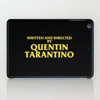 quentin tarantino iPad Cases featuring Written And Directed By Quentin Tarantino by FunnyFaceArt