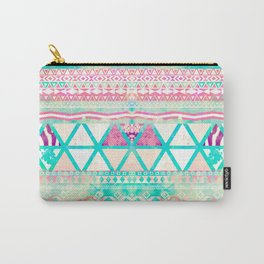 Pink Teal Aztec Pattern Triangles Girly Watercolor Carry-All Pouch