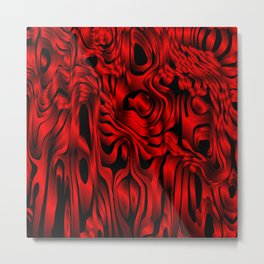 Magical flowing red avalanche of lines with dark. Metal Print
