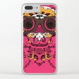 funny skull and bone graffiti drawing in orange brown and pink Clear iPhone Case
