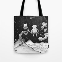 finn and jake Tote Bags featuring finn & jake by jasminevn