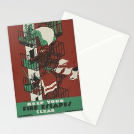 Vintage poster - Keep Your Fire Escapes Clear Stationery Cards