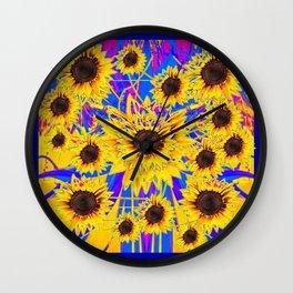 SURREAL FUCHSIA BLUEW SUNFLOWERS  MODERN ART Wall Clock