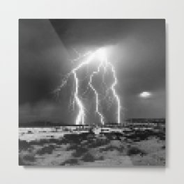 Raging-Brightness Lightning Metal Print