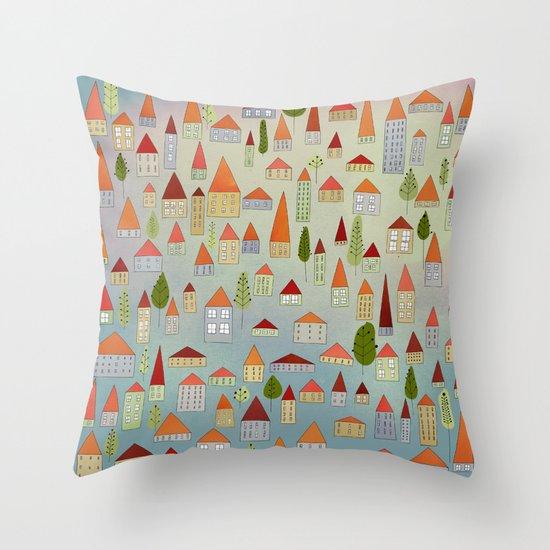 100 little houses Throw Pillow