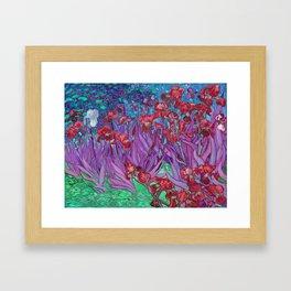 Vincent Van Gogh Irises Painting Cranberry Purple Palette Framed Art Print