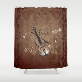 Music, violin with violin bow Shower Curtain