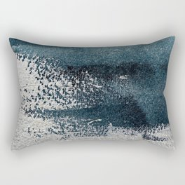 Navy Blue Silver Gray Abstract Painting Rectangular Pillow